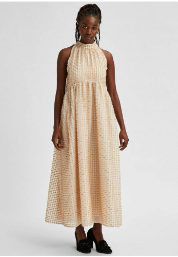 Selected Femme Dosky Halter Neck Maxi Dress, Beige