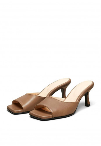 Selected Femme Ashley Leather Mule Shoes, Brown