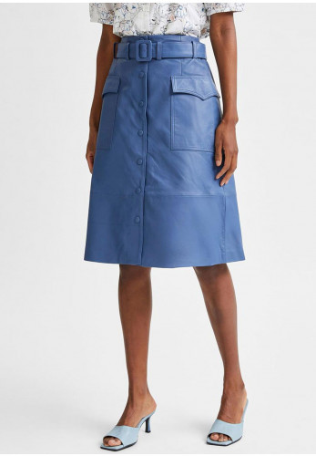 Selected Femme Minella High Waisted Midi Leather Skirt, Blue