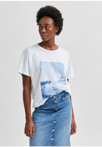 Selected Femme Mira Printed T-Shirt, White