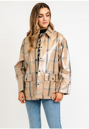 Selected Femme Aby Checked Print Coated Jacket, Beige Multi