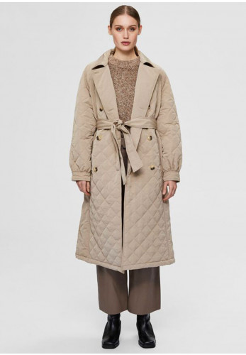 Selected Femme Ninna Quilted Long Trench Coat, Silver Mink