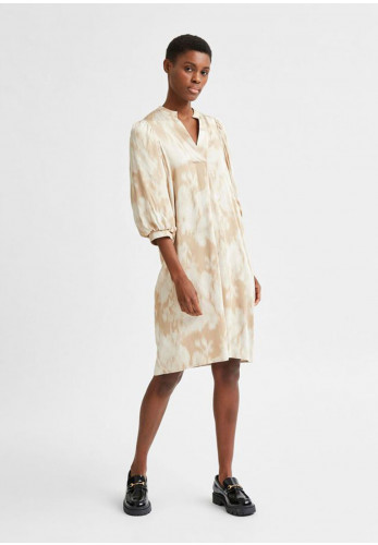 Selected Femme Josepha-Dynella Printed Dress, Beige