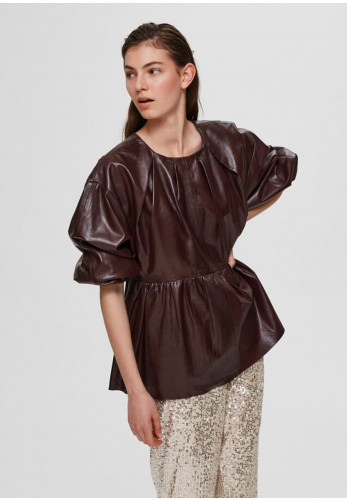 Selected Femme June Leather Top, Winetasting