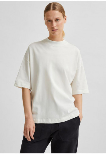 Selected Femme Relax Cole Boxy Cotton T-Shirt, Cream
