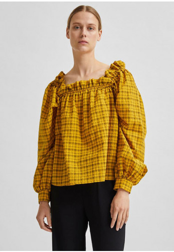 Selected Femme Checkie Ruffle Trim Checked Top, Mustard & Black