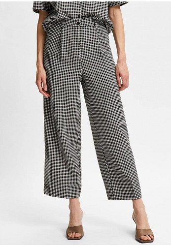 Selected Femme Charlie Checked Cropped Trousers, Black & White