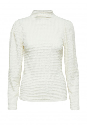 Selected Femme Rhea Textured Long Sleeve Top, White
