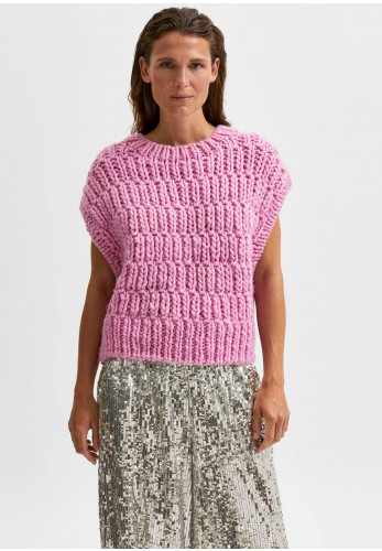 Selected Femme Pearl Chunky Knit Vest, Pink