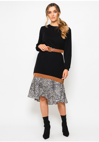 Setre Printed Hem Sweatshirt Dress, Black
