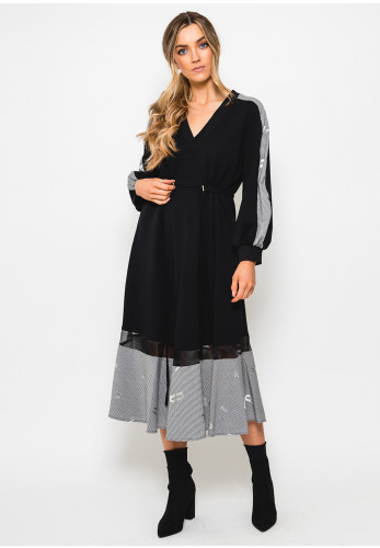 Setre Check Trim Sweatshirt Midi Dress, Black