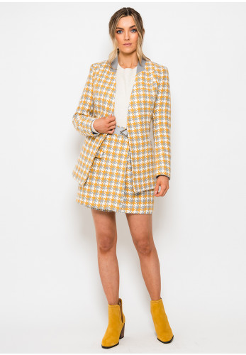 Setre Woven Houndstooth Blazer Jacket, Yellow & Grey