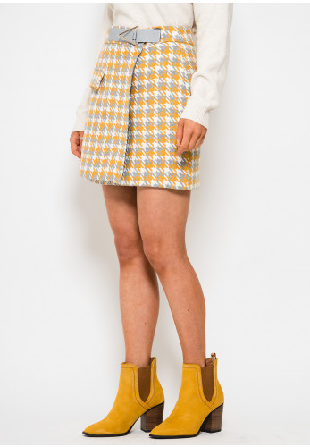 Setre Woven Houndstooth Wrap Mini Skirt, Yellow & Grey