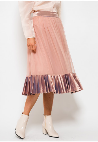 Setre Velvet Trim Mesh Midi Skirt, Powder Pink