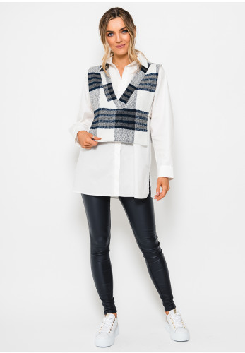 Setre Knit Vest Overlay Relaxed Fit Shirt, White Multi