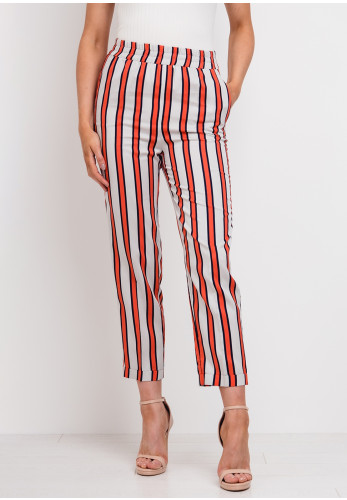 Setre Striped Straight Trousers, Beige & Orange