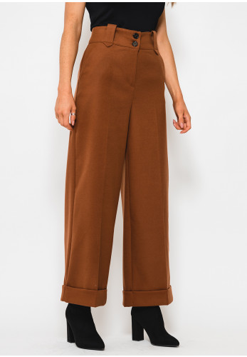 Setre Ankle Grazer High Waist Wide Trousers, Brown