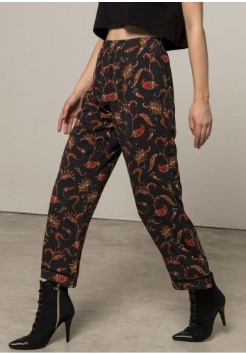 Silvian Heach Paisley Print Cropped Trousers, Grey