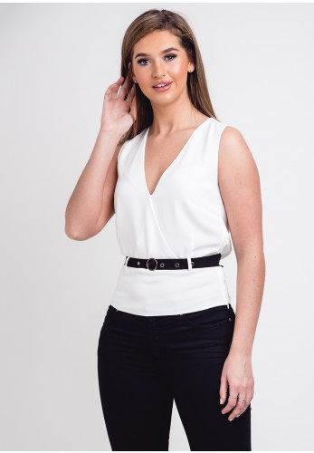 Silvian Heach Wrap Over Belted Top, White