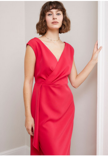 Sisters by Caroline Kilkenny Jacki Frill Trim Dress, Hot Pink
