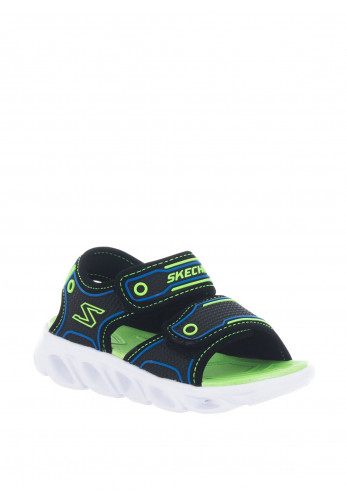 Skechers Boys Light up Velcro Sandals, Black