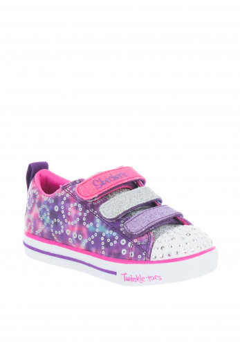 Skechers Girls Twinkle Toes Glitter Velcro Trainers, Purple