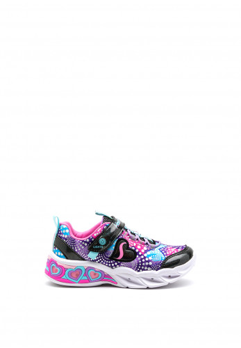 Skechers Girls Sweetheart Lights Trainers, Black Multi