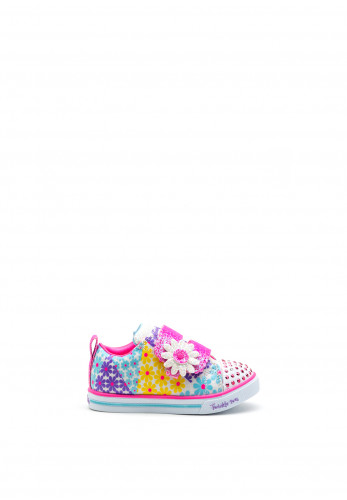Skechers Girls Twinkle Toes Trainers, Pink Multi