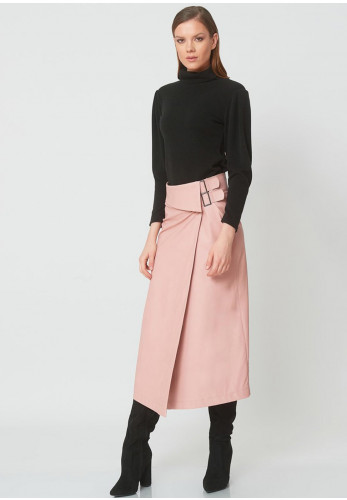 Camelot Faux Leather Wrap Skirt, Pink