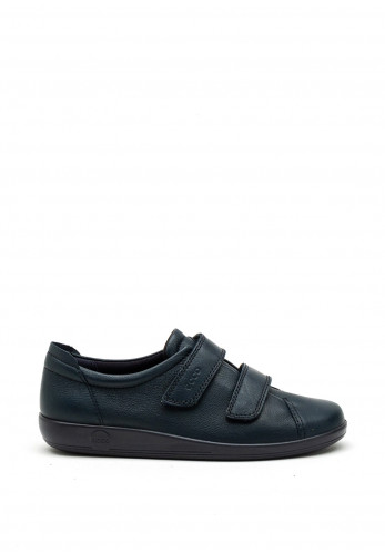 Ecco Womens Leather Velcro Strap Shoes, Navy