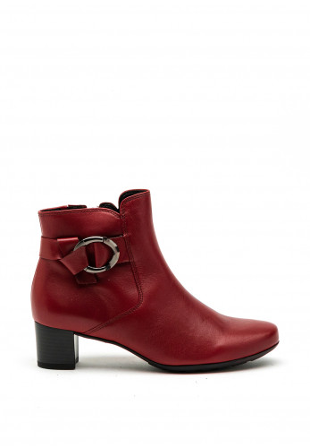 Gabor Comfort Wide G Fit Ring Buckle Leather Ankle Boot, Red
