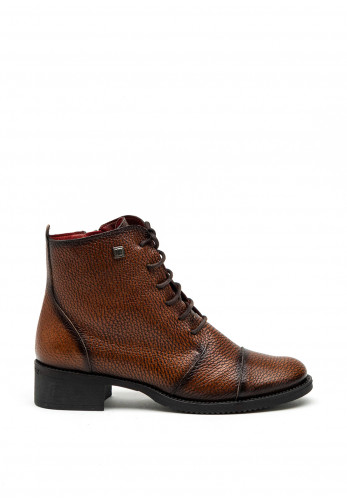 Jose Saenz Pebbled Leather Lace Up Ankle Boot, Brown