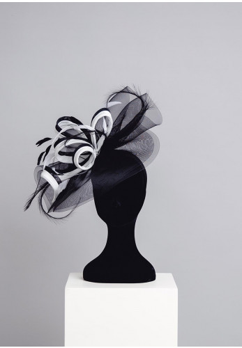 Gigi Headwear Large Special Occasion Fascinator, Black and White