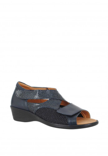 Softmode Anna Leather Velcro Strap Sandals, Navy