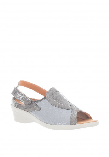 Softmode Ally Metallic Pattern Comfort Sandals, Grey