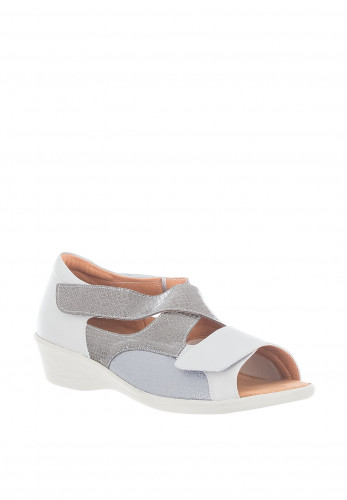 Softmode Anna Velcro Strap Comfort Sandals, Grey
