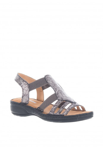 Softmode Claire Metallic Strappy Sandals, Black