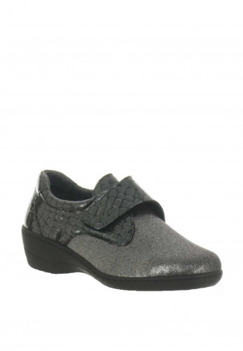 Softmode Eleanor Croc Metallic Velcro Shoes, Grey