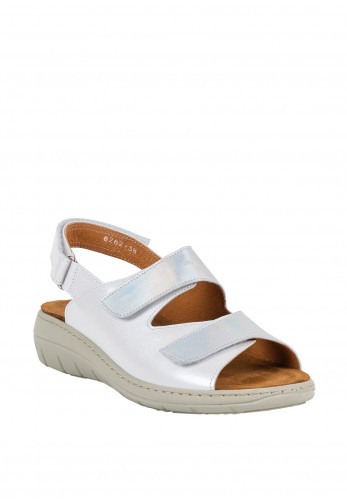 Softmode Sara Velcro Strap Low Wedge Sandals, White