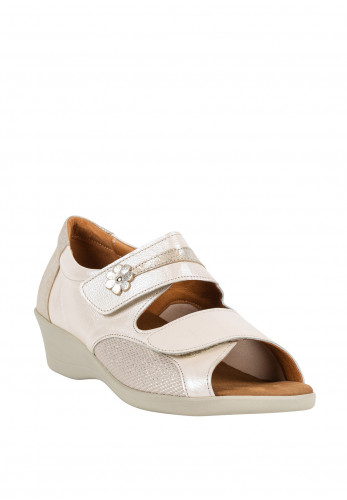 Softmode Stacey Velcro Strap Low Wedge Sandals, Cream