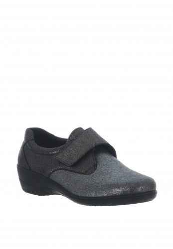 Softmode Eleanor Metallic Velcro Shoes, Pewter