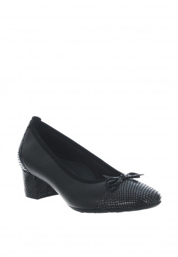 Softmode Gemma Leather Textured Block Heel Shoes, Black