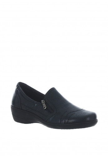 Softmode Zara Metallic Zip Comfort Shoes, Navy