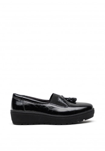 Softmode Patent Leather Tassel Loafer Style Shoes, Black
