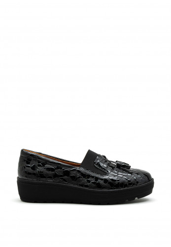Softmode Leather Patent Print Loafers, Black