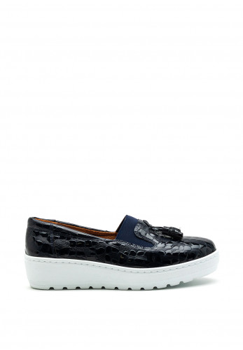 Softmode Leather Patent Print Loafers, Navy