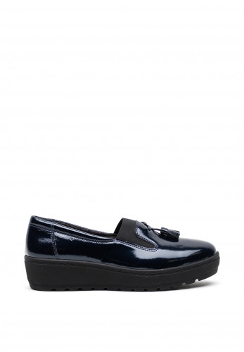Softmode Patent Leather Tassel Loafer Style Shoes, Navy