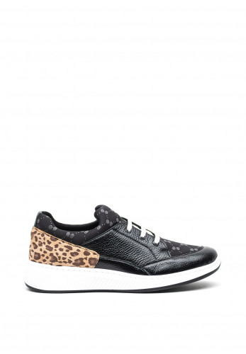 Softmode Leather Leopard Panel Lace Up Wedged Trainers, Black