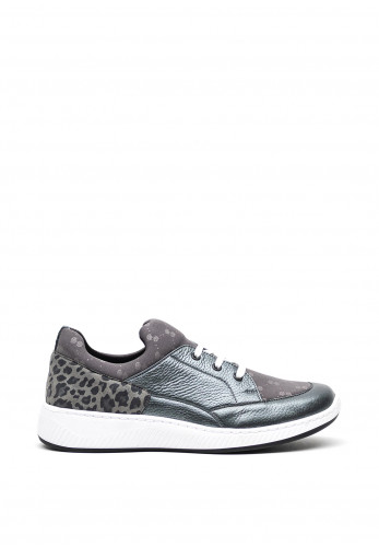 Softmode Leather Leopard Panel Lace Up Wedged Trainers, Grey