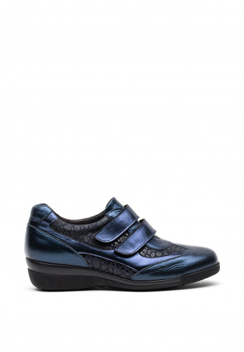 Softmode Leather Metallic and Leopard Print Velcro Strap Shoes, Navy